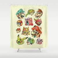stickers Shower Curtains featuring Smashed Bros. by Josh Ln