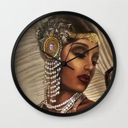 African American Masterpiece 'Cotton Club Flapper Dance Girl' Portrait Painting Wall Clock