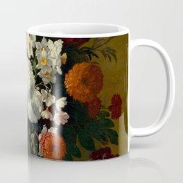 "Philip van Kouwenbergh ""Still life of flowers with roses, peonies, hollyhock, tulips, grapes..."" Coffee Mug"