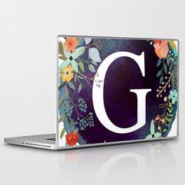 Personalized Monogram Initial Letter G Floral Wreath Artwork Laptop & iPad Skin