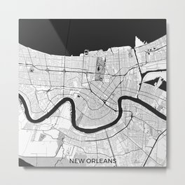 New Orleans Map Gray Metal Print