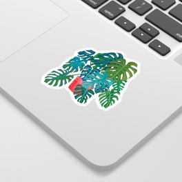 Split Leaf Philodendron Houseplant Painting Sticker