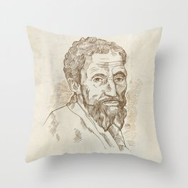 Hand drawn vector portrait. Michelangelo Throw Pillow