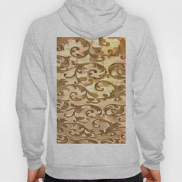 Stylized Foliage Leaves In Gold Hoody