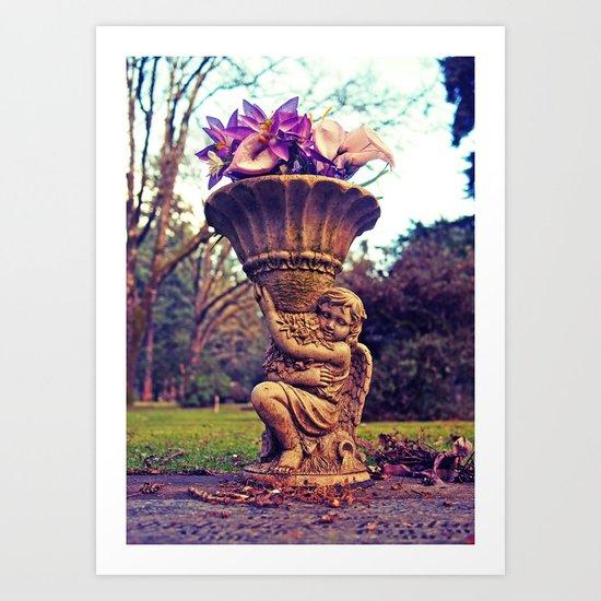 Graveyard statue Art Print