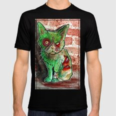 Mean Green Cute Zombie Cat Mens Fitted Tee Black MEDIUM