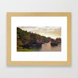Sunset at Cape Flattery, Washington, Olympic Peninsula, Monolith, Pacific Ocean, Islands Framed Art Print