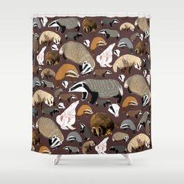 Eurasian badgers pattern Maroon Shower Curtain