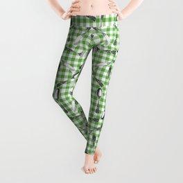 Utensils on Green Picnic Blanket Leggings