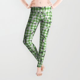 Utensils on Green Picnic Blanket Leggings