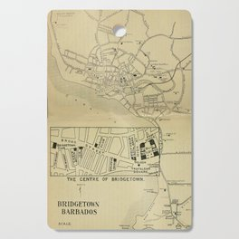 Vintage Bridgetown Barbados Map (1914) Cutting Board