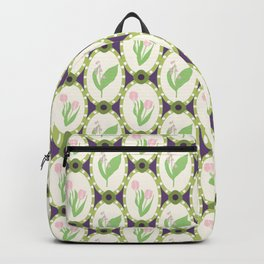 Spring Flowers Tulips and Lily of the Valley Illustrated Pattern Print Backpack