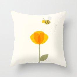 Bee a Flower Throw Pillow
