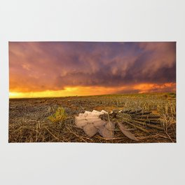 Lost In Time - Broken Windmill and Stormy Sky in Kansas Rug