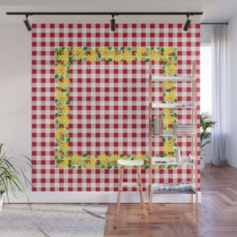 Yellow Flowers on Red Check - more colors Wall Mural