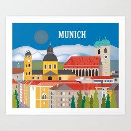 Munich, Germany - Skyline Illustration by Loose Petals Art Print