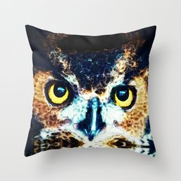 The Wise One - Owl Art By Sharon Cummings Throw Pillow