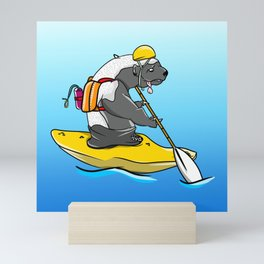 Honey badger kayaking Mini Art Print