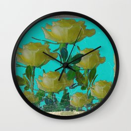 SHABBY CHIC TURQUOISE ANTIQUE IVORY YELLOW ROSE GARDEN Wall Clock