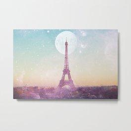 I LOVE PINK PARIS EIFFEL TOWER - Full Moon Universe Metal Print