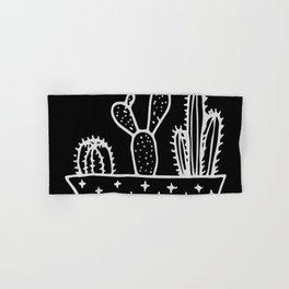 Cactus Planter Gray on Black Hand & Bath Towel
