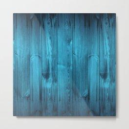 Blue Wood Planks Metal Print