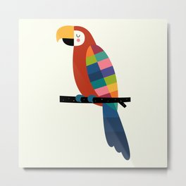 Rainbow Parrot Metal Print