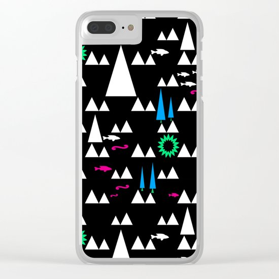 Ethnic simple pattern . Black . Clear iPhone Case