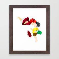 Ponyo and Sosuke white background Framed Art Print