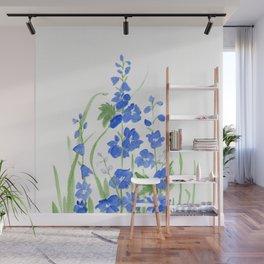 Blue Larkspur Watercolor Garden Flower Delicate Painting Wall Mural