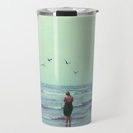 Woman on the Beach Travel Mug