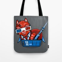 mew Tote Bags featuring Doctor Mew by harebrained