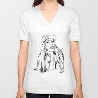 iggy V-neck T-shirts featuring Iggy by Liz Cowling