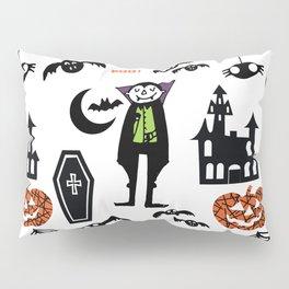 Cute Dracula and friends white #halloween Pillow Sham