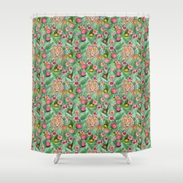 Jungle Tiger Tropical lovebirds Art by Magenta Rose Designs Shower Curtain