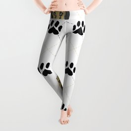 Faun Great Dane Paw Print Pattern Leggings
