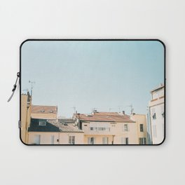 Pretty pretty Cannes | Pastel colored apartment buildings in the South of France Laptop Sleeve