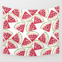 vegetarian Wall Tapestries featuring Watermelon pattern by Julia Badeeva