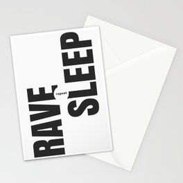 Rave Sleep Repeat Stationery Cards