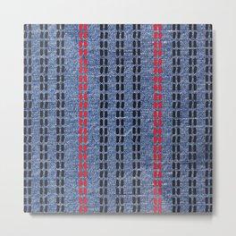 Digital Graphic Pattern Blue Denim Metal Print
