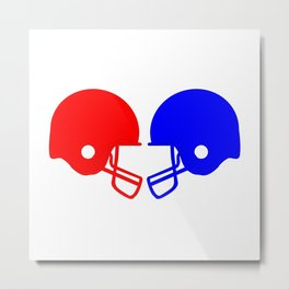 Football helmets Red And Blue Metal Print