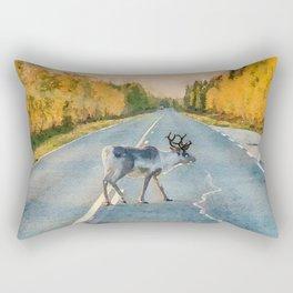 Lappi reindeer watercolor painting Rectangular Pillow
