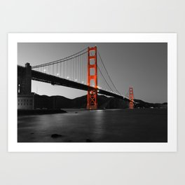 Golden Gate Bridge in Selective Black and White Art Print