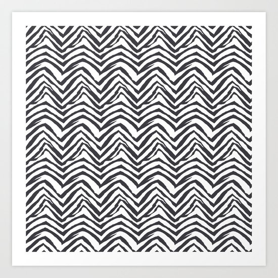 Zebra stripes minimal black and white modern pattern basic home dorm decor nursery Art Print