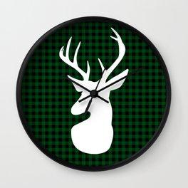 Elegant Green Plaid Deer Design Wall Clock