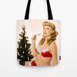 """What Should We Unwrap First?"" - he Playful Pinup - Christmas Pinup Girl by Maxwell H. Johnson Tote Bag"