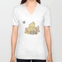 pooh V-neck T-shirts featuring Classic Pooh by kltj11