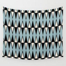 Mid Century Modern Diamond Pattern Black and Blue 233 Wall Tapestry