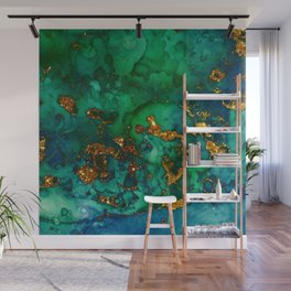 Emerald And Blue Glitter Marble Wall Mural