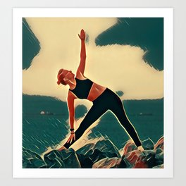 Yoga on the Rocks Art Print